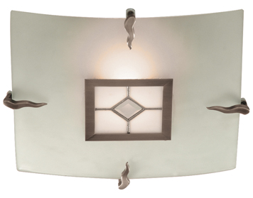 Searchlight Tiffany 1 Light Flush Ceiling Light, Antique Brass Finish With Amber & Frosted Glass- 4207-30