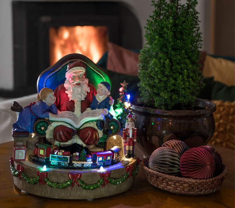Konstsmide 12 Multi Coloured LED Fibre Optic Santa with Train - 4215-000 None