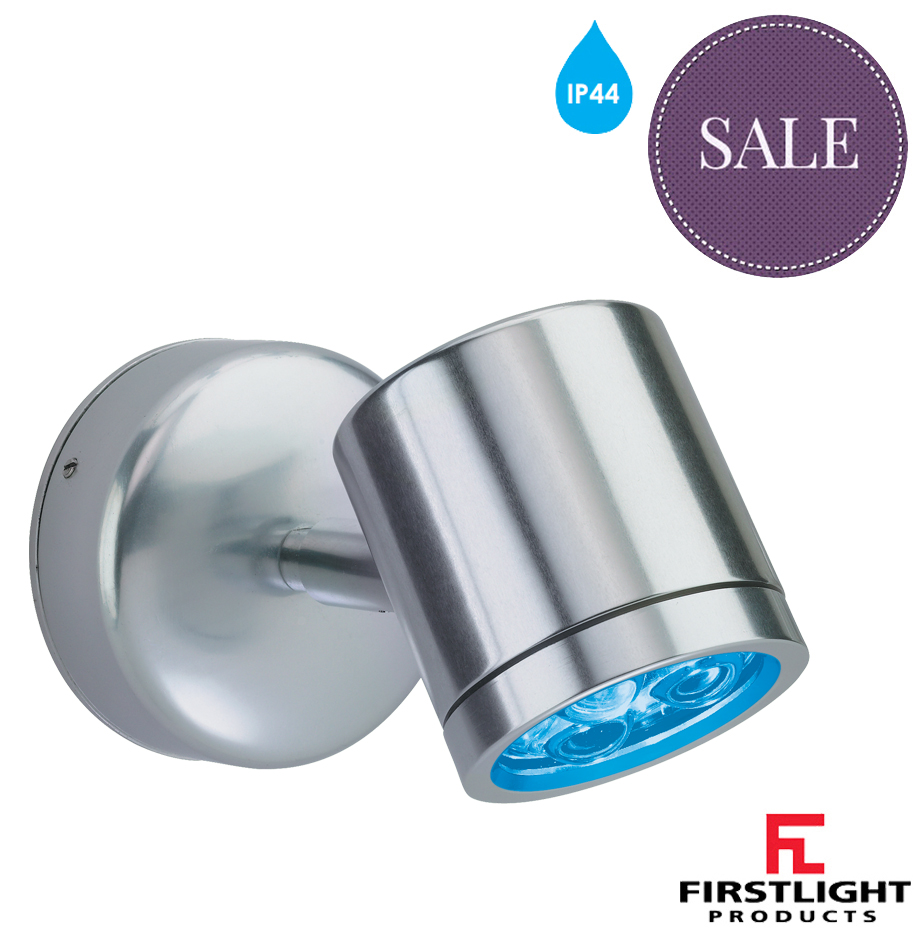 Switched Plaster Wall Lights : Firstlight IP44 Indoor/Outdoor 3 Light LED Wall Light With Integral Driver, Aluminium With Blue ...