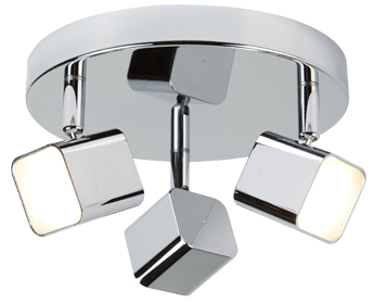 Searchlight Quad 3 Light LED Square Head Plate Spotlight, Chrome Finish - 4233CC