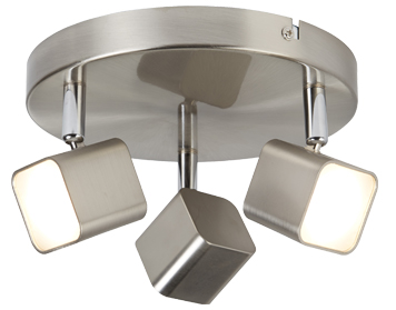 Searchlight Quad 3 Light LED Square Head Plate Spotlight, Satin Silver Finish - 4233SS