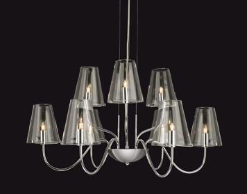 Firstlight Jasmine 9 Light Ceiling Light, Chrome Finish With Clear Glass - 4234CH