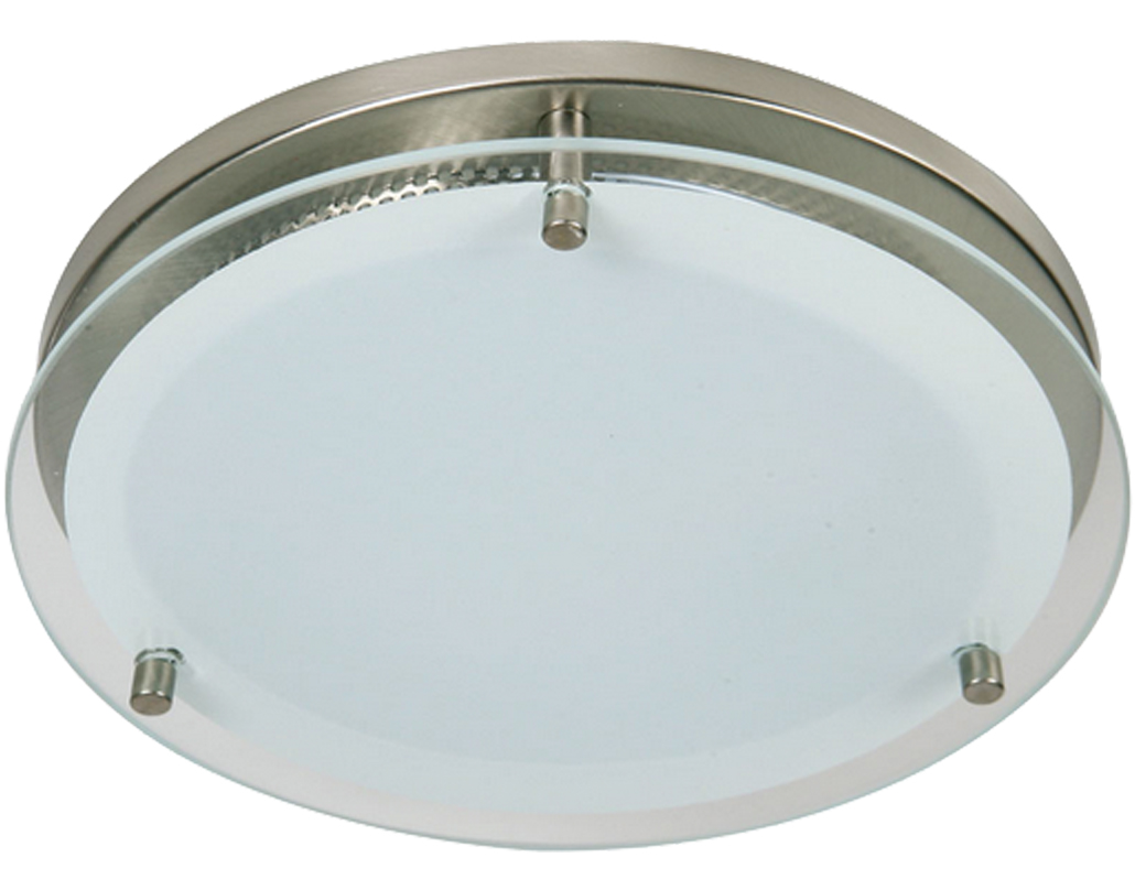 Oaks Lighting Halo Small Flush Ceiling Light, Satin Chrome Finish - 4250 SM