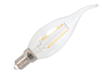 Calex E14 3.5W LED Dimmable Flame Tipped Candle Bulb, Clear