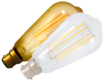 Calex 4W B22 LED Dimmable Rustic Filament Lamp, Gold or Clear - 425415-1