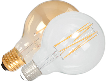 Calex 4W E27 LED Dimmable Rustic Filament Globe Lamp, Gold or Clear - 425452-1