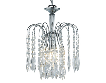 Searchlight Waterfall 1 Light Ceiling Pendant, Chrome Finish With Crystal Buttons & Drops - 4271-1