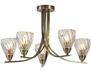 Searchlight Ascona II 5 Light Semi Flush Ceiling Light, Antique Brass Finish With Twist Frame & Clear Glass Shades - 4275-5AB