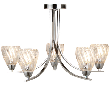 Searchlight Ascona II 5 Light Semi Flush Ceiling Light, Chrome Finish With Twist Frame & Clear Glass Shades - 4275-5CC
