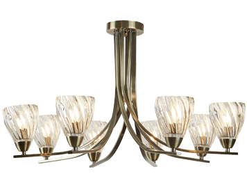 Searchlight Ascona II 8 Light Semi Flush Ceiling Light, Antique Brass Finish With Twist Frame & Clear Glass Shades - 4278-8AB