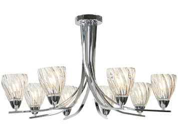 Searchlight Ascona II 8 Light Semi Flush Ceiling Light, Chrome Finish With Twist Frame & Clear Glass Shades - 4278-8CC