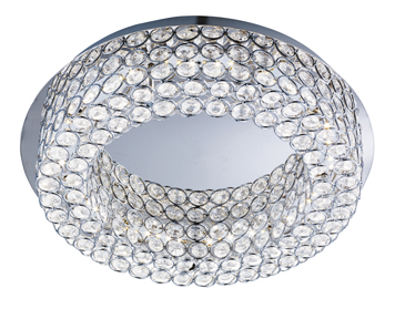 Searchlight Vesta 54 Light Flush LED Ceiling Light, Chrome Finish With Crystal Buttons - 4291-54CC