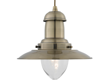 Searchlight Fisherman 1 Light Ceiling Pendant Light, Antique Brass Finish - 4301AB