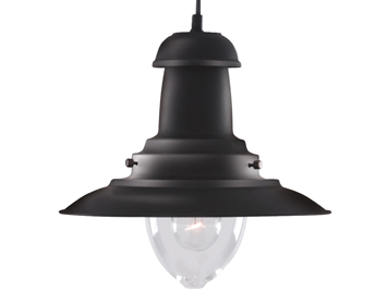 Searchlight Fisherman 1 Light Ceiling Pendant Light, Matt Black Finish - 4301BK