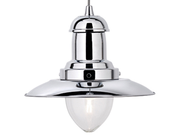 Searchlight Fisherman 1 Light Ceiling Pendant Light, Chrome Finish - 4301CC