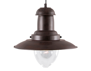 Searchlight Fisherman 1 Light Ceiling Pendant Light, Rustic Brown Finish - 4301RU