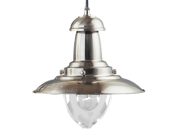 Searchlight Fisherman 1 Light Ceiling Pendant Light, Satin Silver Finish - 4301SS