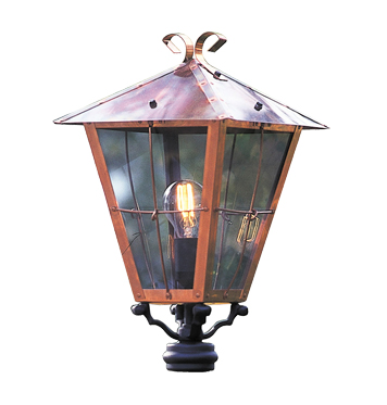 Konstsmide Fenix 1 Light Outdoor Post *Head Only*, Copper Finish With Smoked Glass - 431-900