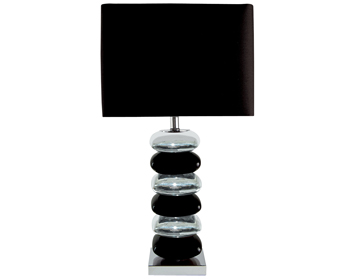 Searchlight Bravo 1 Light Table Lamp, Chrome & Black Ceramic Base With A Black Fabric Shade - 4318CC-1