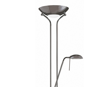 Searchlight Mother & Child 2 Light Floor Lamp With Double Dimmer, Black Chrome Finish - 4329BC