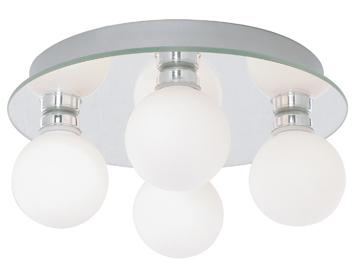 Searchlight Global 4 Light Bathroom Ceiling Light, Chrome Finish With Opal Glass Shades - 4337-4-LED