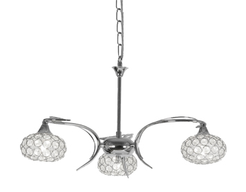 Oaks Lighting Toulon 3 Light Ceiling Light, Chrome Finish With Glass Shades - 4341/5 CH