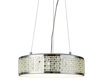 Searchlight Baltimore 8 Light LED Ceiling/Pendant Light, Chrome Finish With Tile Effect Trim - 4398-8CC