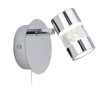 Searchlight Bubbles 1 Light Switched LED Bathroom Wall Spotlight, Chrome Finish - 4411CC