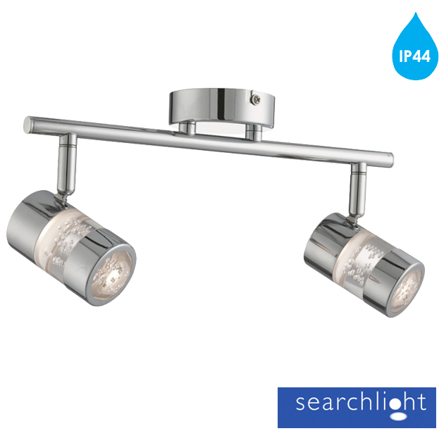searchlight 39 bubbles 39 ip44 2 light led bar spotlight chrome acrylic shades 4412cc from easy. Black Bedroom Furniture Sets. Home Design Ideas