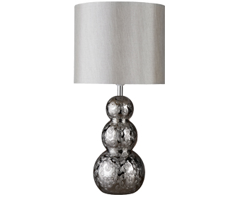 Searchlight Ashmore 1 Light Table Lamp, Ceramic Chrome Ball Base With Silver Faux Silk Drum Shade - 4426CC