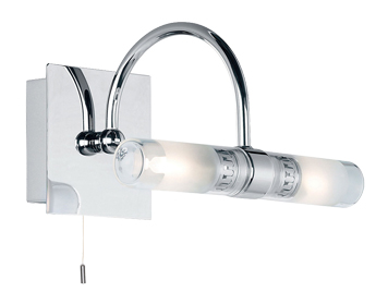 Endon Shore Double Switched Single Wall Bracket, Chrome Plate Finish With Clear & Frosted Glass - 447