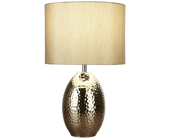 Searchlight Brookside 1 Light Table Lamp, Gold Hammered Ceramic Base With Gold Faux Silk Drum Shade - 4547GO