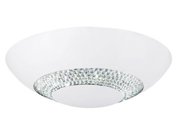 Searchlight Flush LED Flush Ceiling Light, White Finish With Clear Crystal Glass Circular Band- 4548-36WH