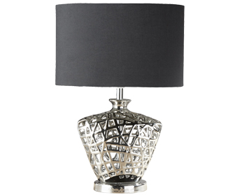 Searchlight Network 1 Light Table Lamp, Chrome Cut Out Decorative Base With Black Oval Drum Shade - 4552CC