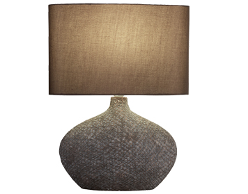 Searchlight Fairview 1 Light Table Lamp, Matt Brown Ceramic Base With Brown Oval Drum Shade - 4563BR