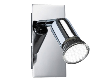 Action Solution 1 Light LED Switched Wall Spotlight, Chrome Finish - 463401010000
