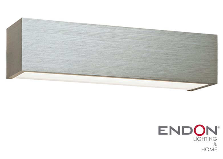 Endon Shale LED Up & Down Wall Light, Brushed Silver Anodised & Frosted Glass - 46395 from ...