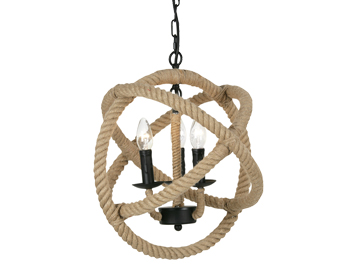 Oaks Lighting Corde 3 Light Ceiling Pendant, Rope Finish - SALE-4671/3