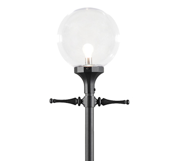 Konstsmide Orion 1 Light Outdoor Lamp Post (2400mm), Black Finish & Clear Acrylic Diffuser - 468-750