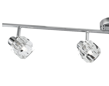 Searchlight Triton 4 Light LED Split Bar Spotlight, Polished Chrome Finish With Glass Shades - 4764CC-LED