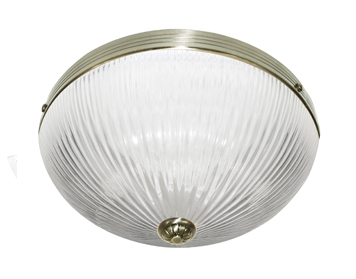 Searchlight Windsor II 2 Light Flush Ceiling Light, Antique Brass Finish With Ribbed Glass Shade - 4772AB