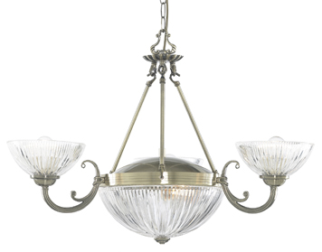 Searchlight Windsor II 5 Light ceiling Light, Antique Brass finish With Ribbed Glass Shades - 4775-5AB