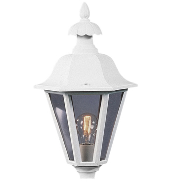 Konstsmide Pallas 1 Light Outdoor Post *Head Only*, Matt White Finish With Clear Glass Diffuser - 478-250