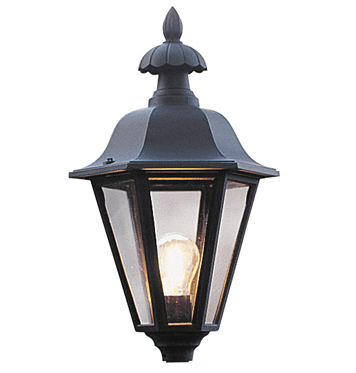 Konstsmide Pallas 1 Light Outdoor Post *Head Only*, Matt Black Finish With Clear Glass Diffuser - 478-750