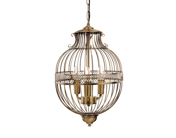 Firstlight Stanford 3 Light Decorative Ceiling Pendant Light, Antique Brass Finish - 4855AB