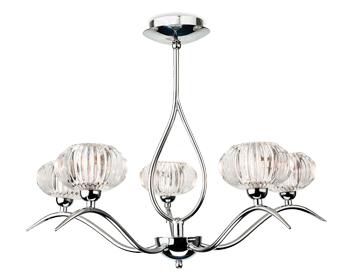 Firstlight Lisbon 5 Light Flush Fitting Ceiling Light, Chrome Finish With Clear Decorative Glass - 4858CH