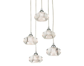 Firstlight Lisbon 5 Light Ceiling Pendant, Chrome Finish With Clear Decorative Glass - 4859CH