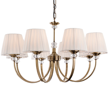 Firstlight Langham 8 Light Ceiling Light, Antique Brass With Pleated Cream Shades - 4864AB