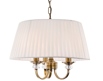 Firstlight Langham 3 Light Ceiling Pendant Light, Antique Brass With Pleated Cream Shade - 4865AB