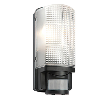 Endon Motion PIR 1 Light Outdoor Wall Light, Frosted & Black Polycarbonate Finish - 48739